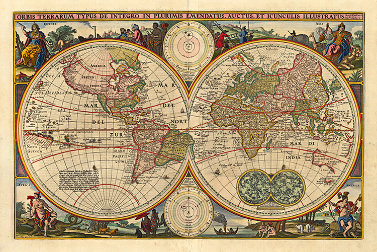 MAWO-62++World+Map+1670++Antique+Framed+Maps